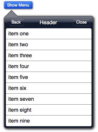 An iPad style dropdown menu create with CSS3