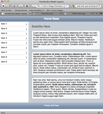 Example Layout with Equal Height Columns using CSS3 Flexible Box Model